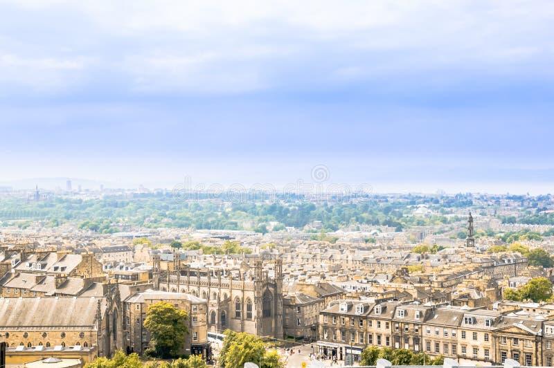 Vue panoramique au-dessus du paysage urbain d'Edimbourg - l'Ecosse image stock