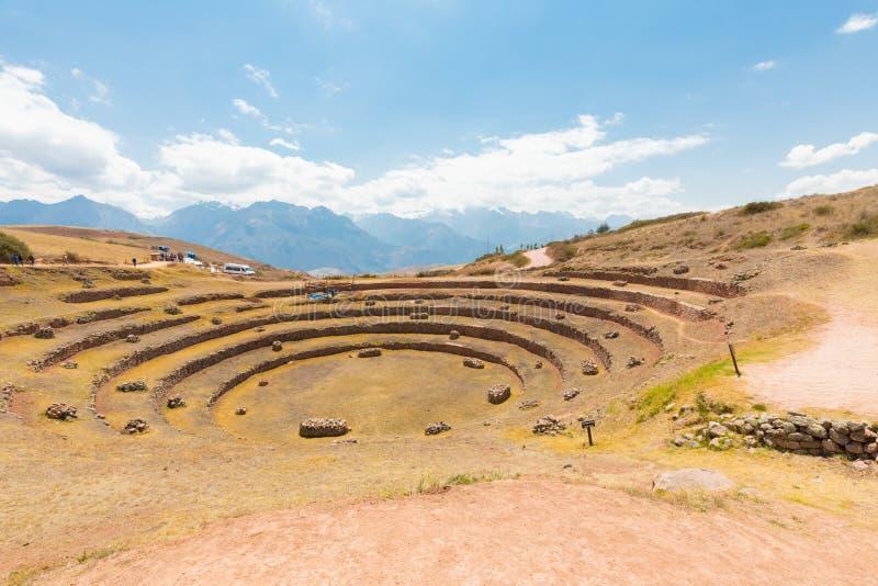 Vue panoramique Cuzco Pérou de site archéologique de Moray photographie stock libre de droits