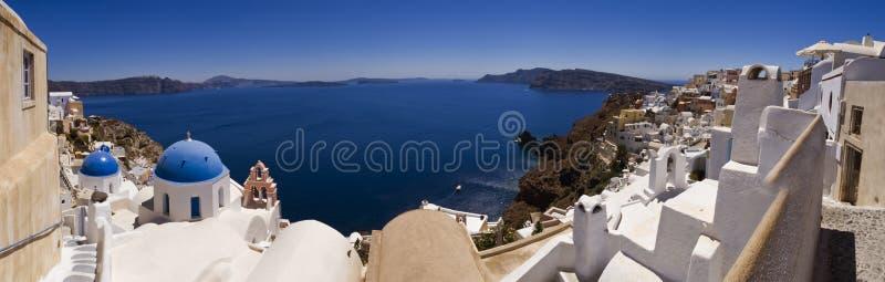 Vue panoramique d'île de Santorini images libres de droits