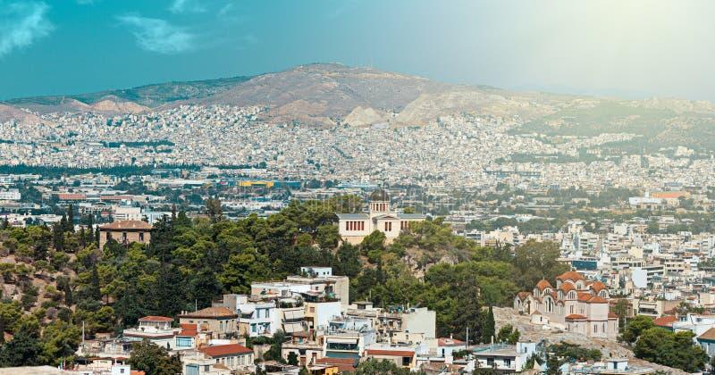 Vue panoramique d'Athènes photo stock
