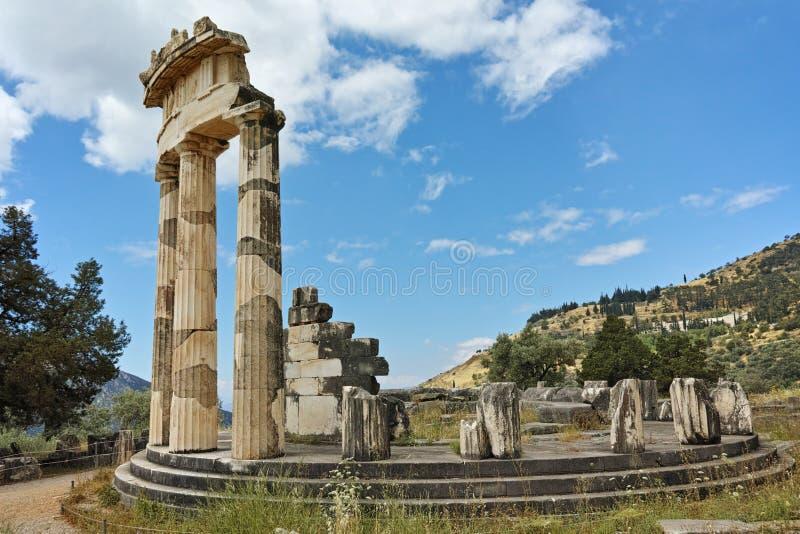 Vue panoramique d'Athena Pronaia Sanctuary à Delphes, Grèce images libres de droits
