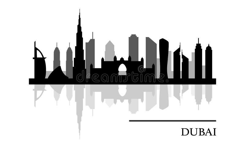 Vue panoramique d'horizon de Dubaï illustration de vecteur