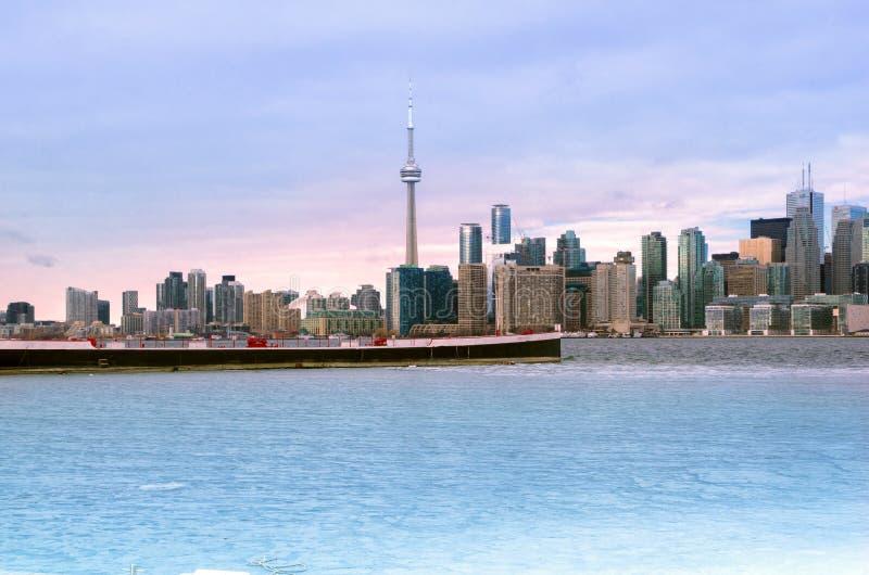Vue panoramique d'horizon de Toronto d'île de Toronto photo libre de droits