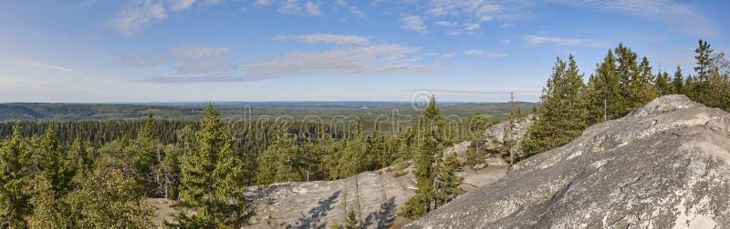 Vue panoramique d'horizontal Koli National Park Région de Pielinen ailette images stock