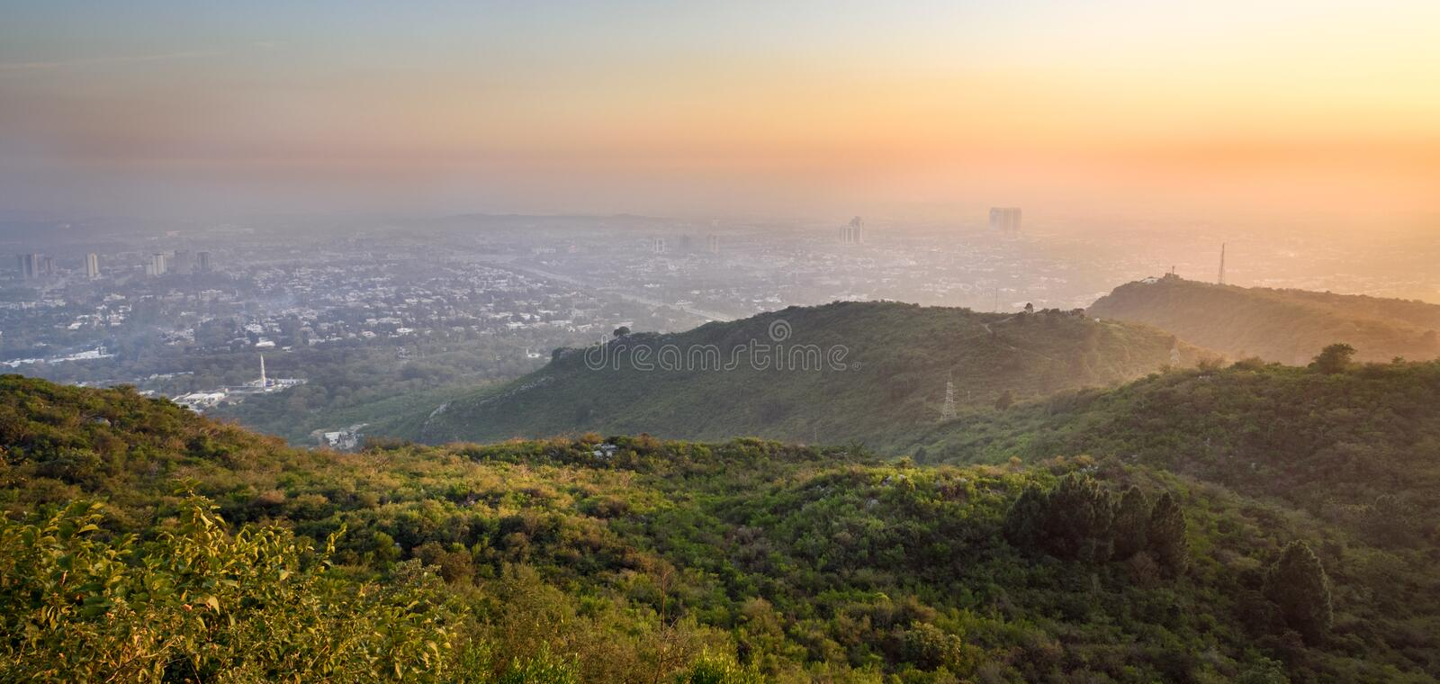 Vue panoramique d'Islamabad, Pakistan photo stock