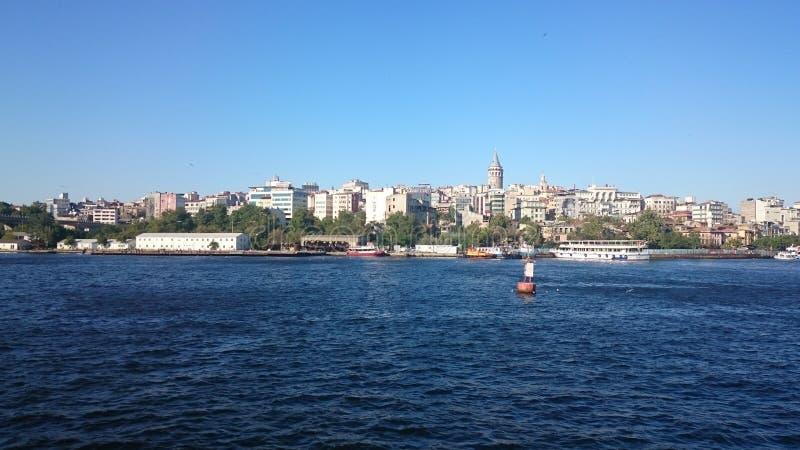Vue panoramique d'Istanbul Paysage urbain de panorama de canal de touristes célèbre de détroit de Bosphorus de destination Paysag photographie stock libre de droits