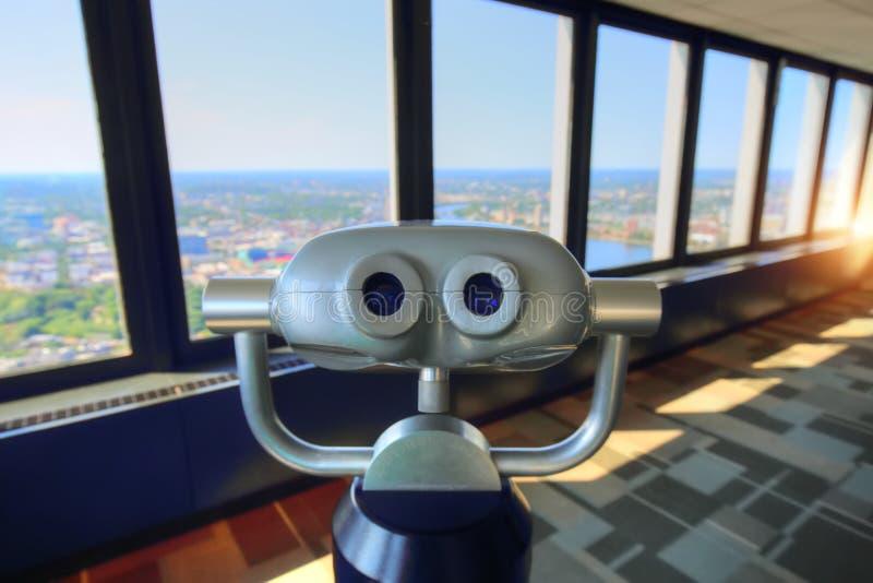 Vue panoramique de Boston de plate-forme d'observation de prudence de tour photographie stock libre de droits