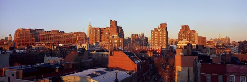 Vue panoramique de côté est inférieur horizon de Manhattan, New York City, New York près de Greenwich Village photographie stock