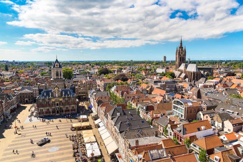Vue panoramique de Delft photographie stock libre de droits