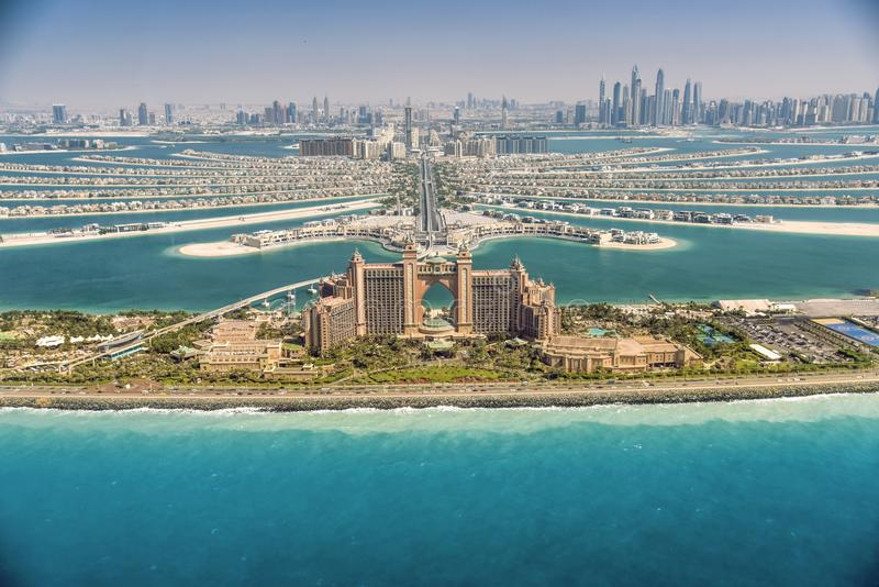 Vue panoramique de Dubaï d'île de paume images libres de droits