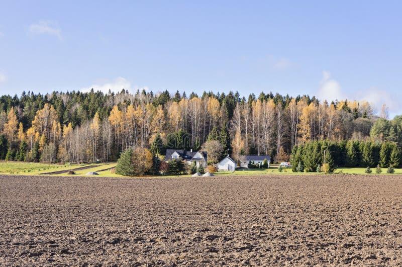 Vue panoramique de ferme avec le champ d'une manière ordonnée labouré photo libre de droits