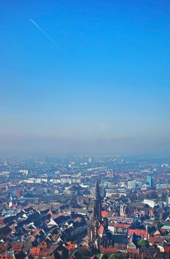 Vue panoramique de Fribourg-en-Brisgau, Allemagne images libres de droits