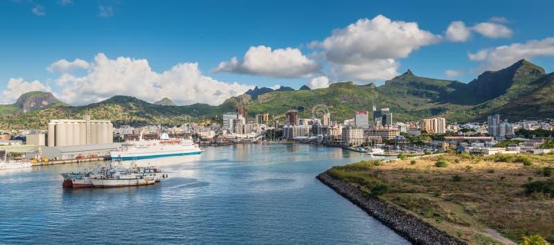 Vue panoramique de la baie du port Louis Mauritius photos stock