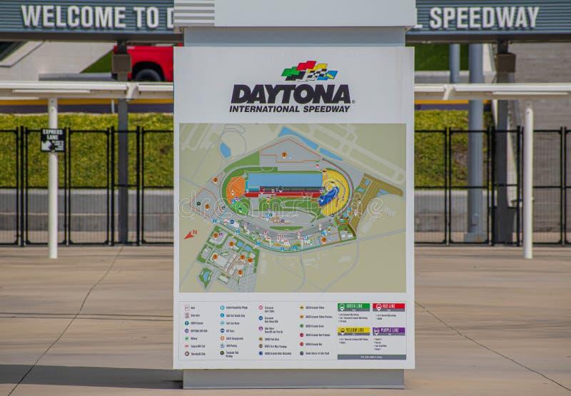 Vue panoramique de la carte internationale 1 de speed-way de Daytona images libres de droits