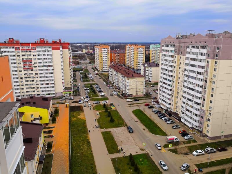 Vue panoramique de la grande zone résidentielle, printemps images stock