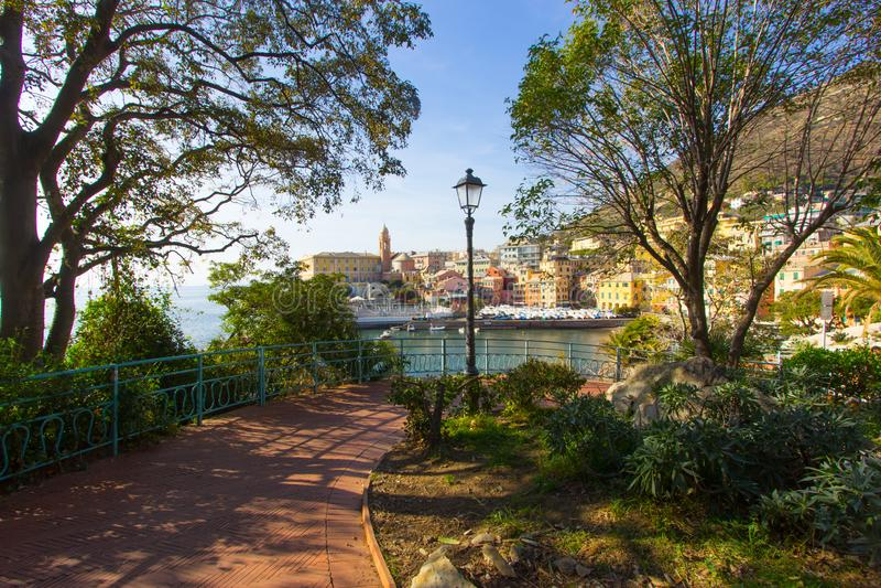 Vue panoramique de la localité de Nervi à Gênes image stock