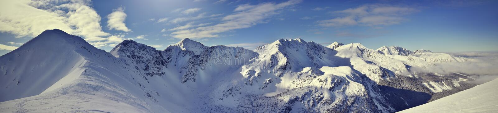 Vue panoramique de la montagne occidentale de Tatra d'hiver Rohace photo libre de droits