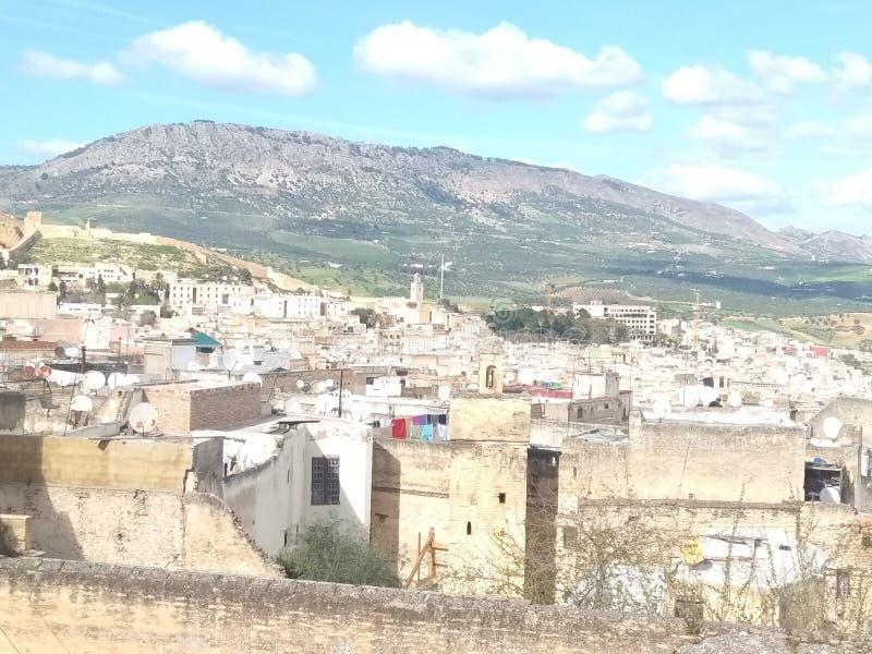 Vue panoramique de la vieille ville pour le Maroc image stock