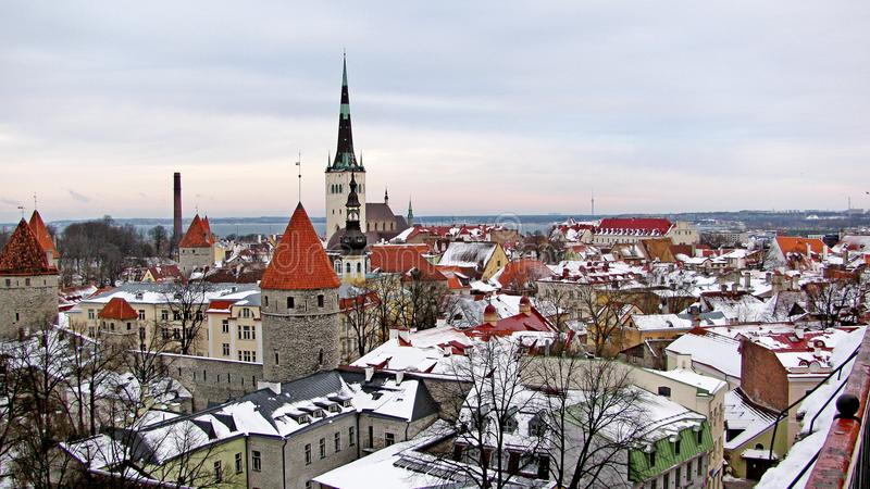 Vue panoramique de la vieille ville Tallinn, Estonie photo stock