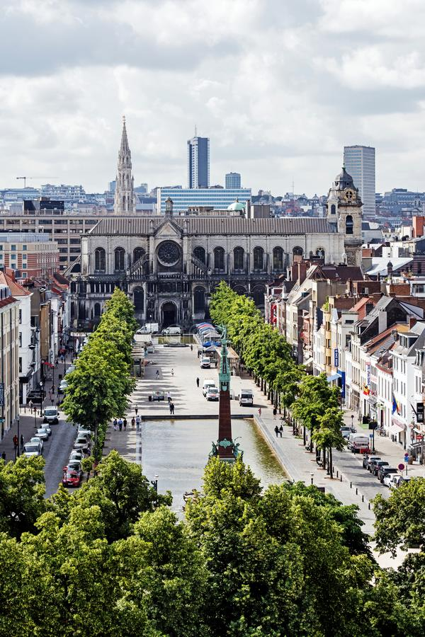 Vue panoramique de la ville de Bruxelles images libres de droits