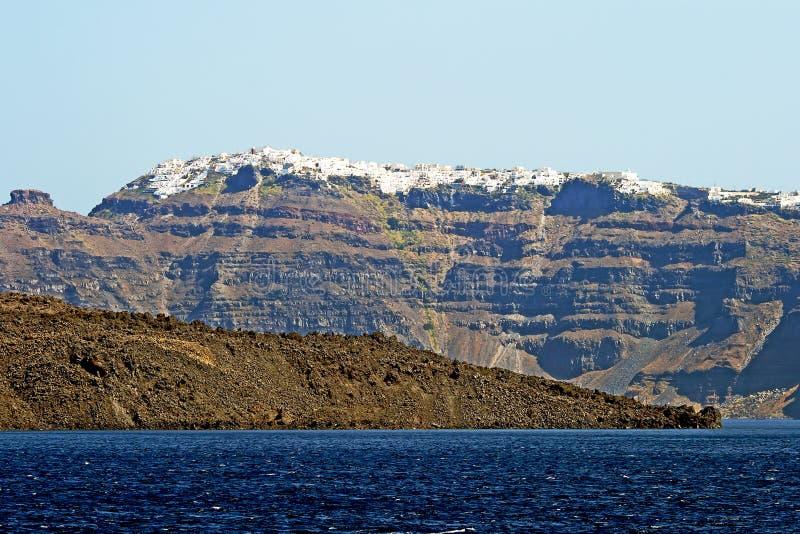 Vue panoramique de la ville de Santorini photo stock