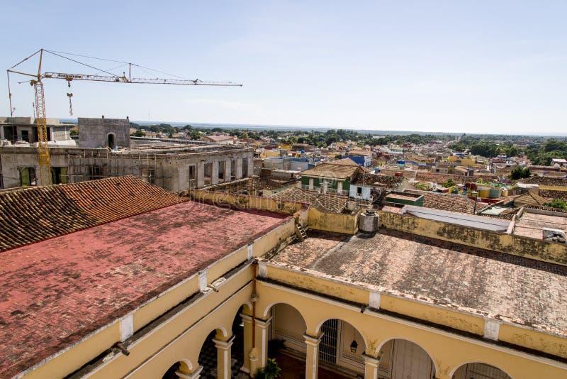 Vue panoramique de la ville historique du Trinidad, Cuba images libres de droits