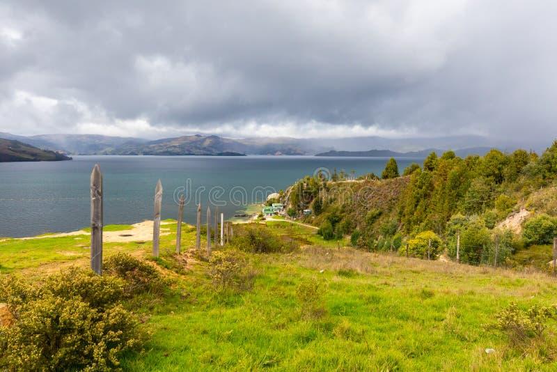 Vue panoramique de lac colombia Tota photos libres de droits