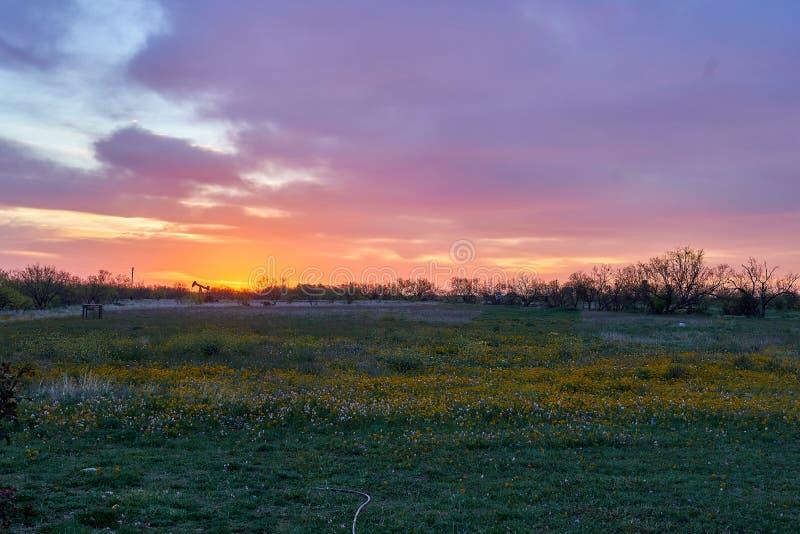 Vue panoramique de lever de soleil au-dessus de paysage rural de désert Projectile horizontal photos stock