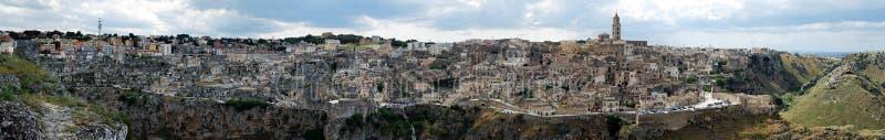 Vue panoramique de Matera images libres de droits