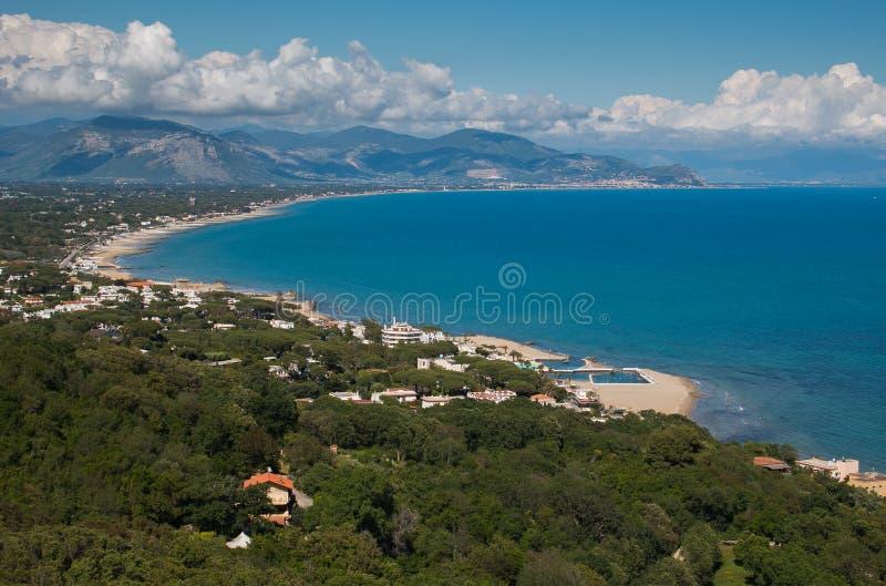 Vue panoramique de mer de San Felice Circeo au Latium, Italie images libres de droits