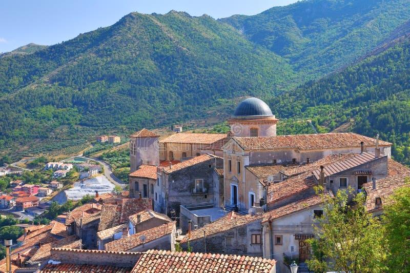 Vue panoramique de Morano Calabro La Calabre l'Italie images libres de droits