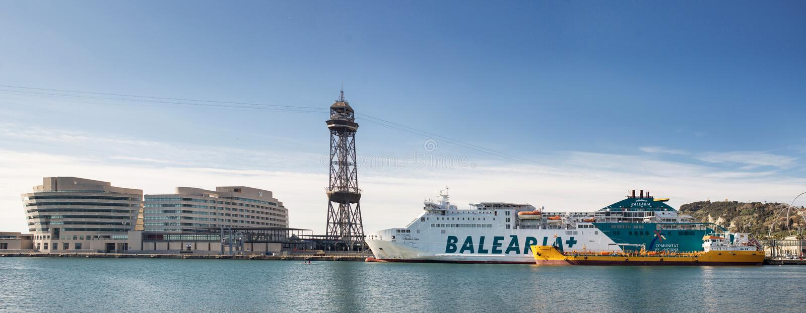 Vue panoramique de port Vell Barcelone catalonia images libres de droits