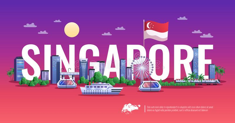 Vue panoramique de Singapour illustration stock