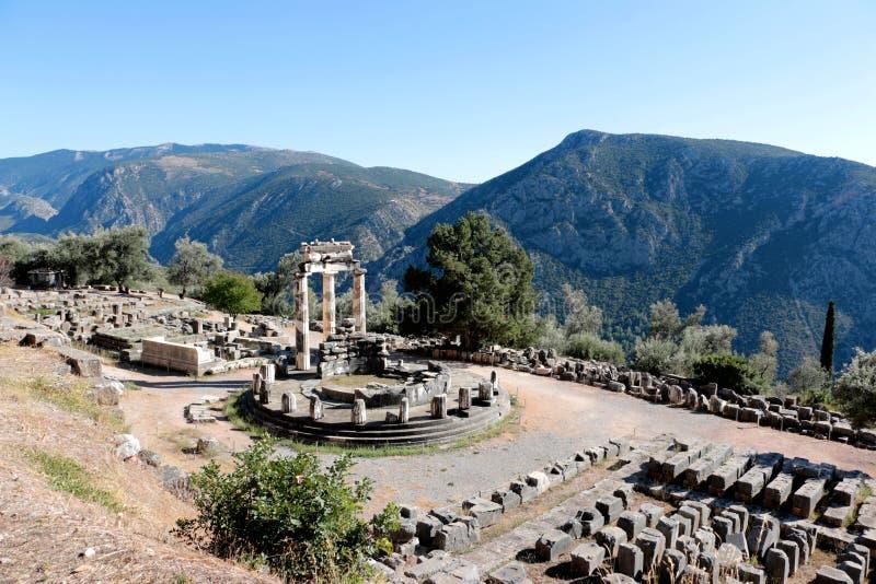 Vue panoramique de temple d'Athena Pronea Delphi Greece photos libres de droits