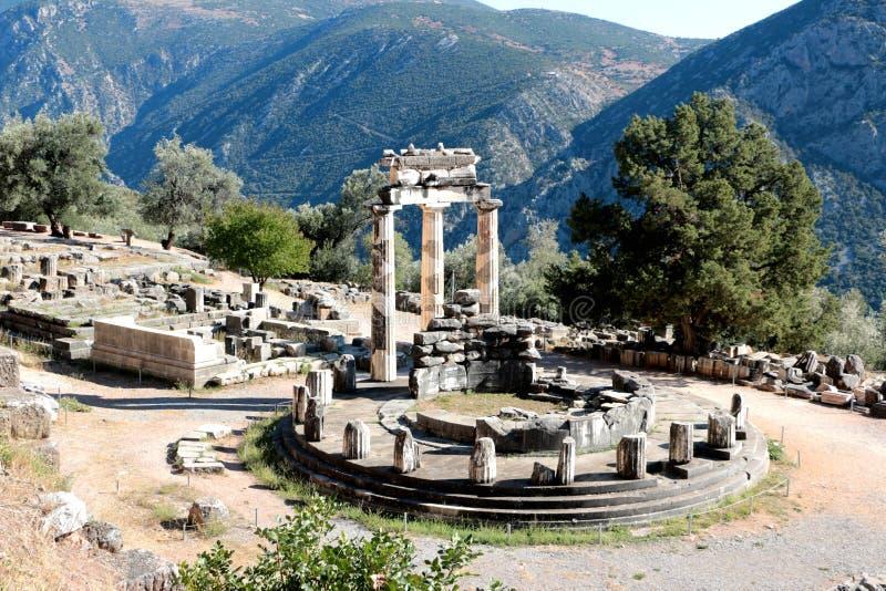 Vue panoramique de temple d'Athena Pronea Delphi Greece photographie stock