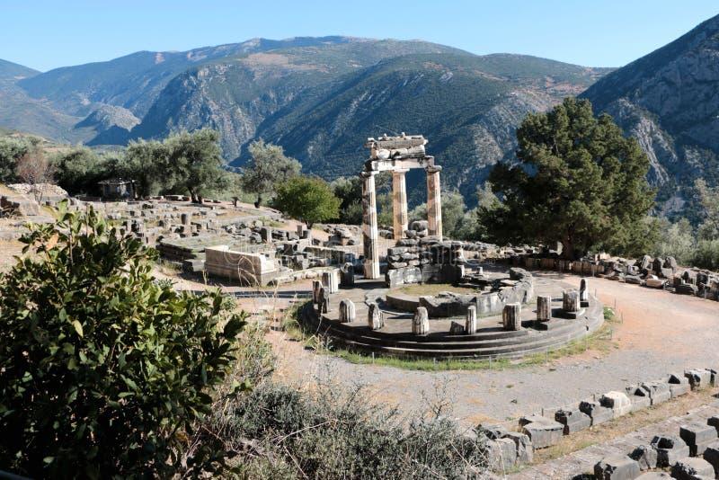 Vue panoramique de temple d'Athena Pronea Delphi Greece photo libre de droits