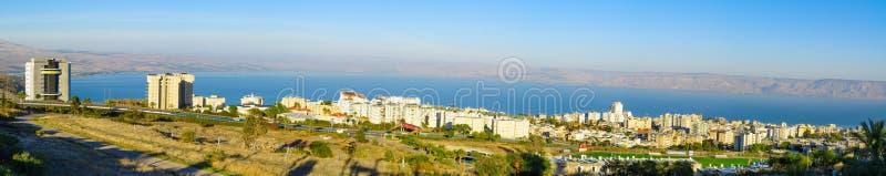 Vue panoramique de Tibériade et de la mer de la Galilée image libre de droits