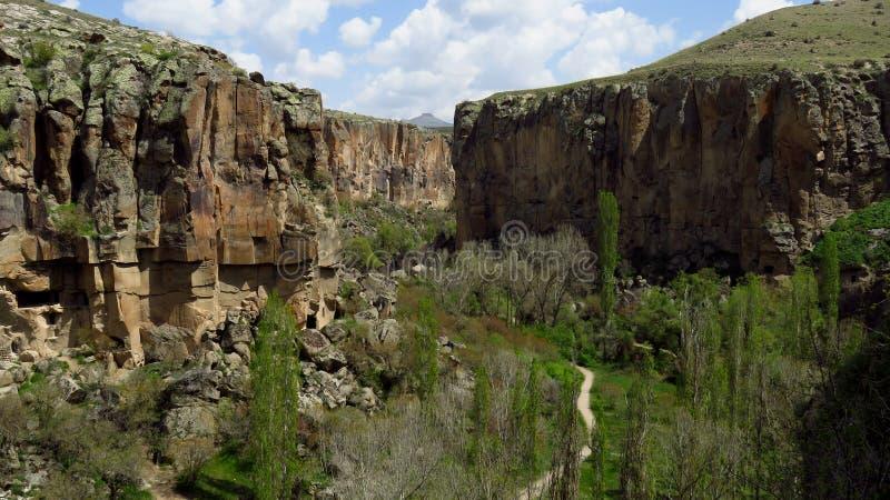 Vue panoramique de vallée d'Ihlara dans Cappadocia images stock