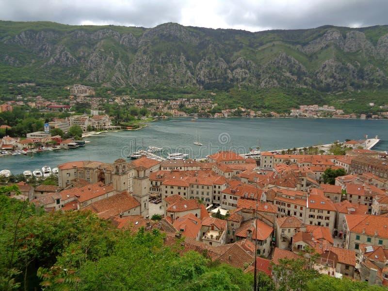 Vue panoramique de vieille ville de Kotor le long du rivage de la baie de Kotor, Monténégro photos libres de droits