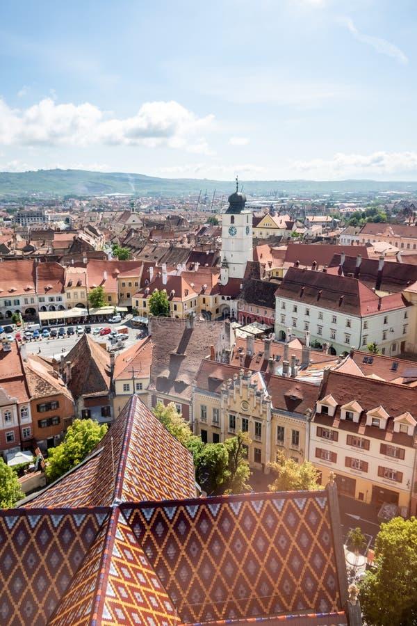 Vue panoramique de vieille ville de Sibiu, la Transylvanie, Roumanie photo stock