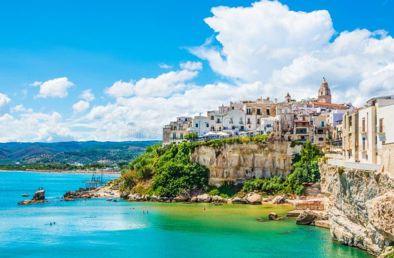 Vue panoramique de Vieste, Pouilles, Italie du sud image libre de droits