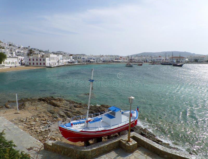 Vue panoramique de vieux port de Mykonos, île de Mykonos photos stock