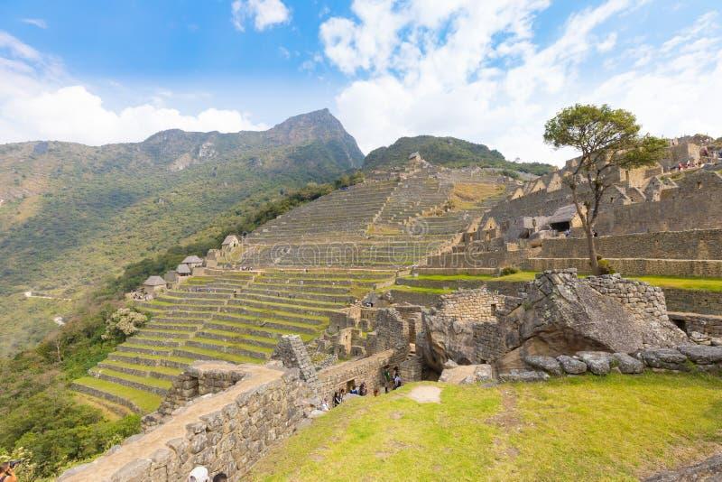 Vue panoramique des terrasses agricoles de Machu Picchu photos stock
