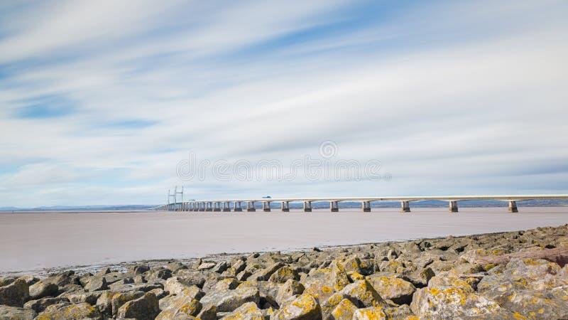 Vue panoramique du deuxième croisement de Severn de Bristol photos libres de droits