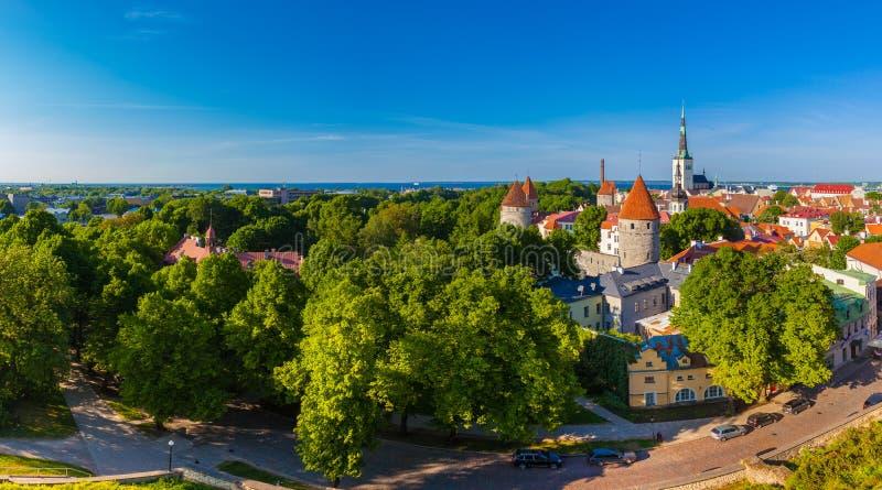 Vue panoramique du paysage urbain de vieux Tallinn, Estonie image stock