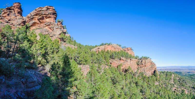 Vue panoramique en parc naturel de Pinares del Rodeno, Espagne photographie stock libre de droits
