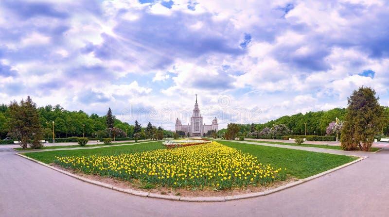 Vue panoramique grande-angulaire des fleurs de ressort fleurissant dans le campus de l'université russe célèbre à Moscou sous le  photo libre de droits