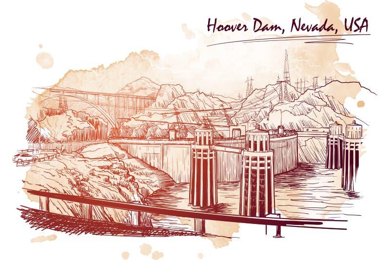 Vue panoramique renversante de barrage de Hoover Dessin linéaire de main sur un Ba grunge de tache Type de croquis illustration stock