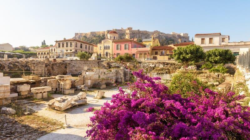 Vue panoramique scénique de la bibliothèque de Hadrian, Athènes, Grèce photographie stock libre de droits