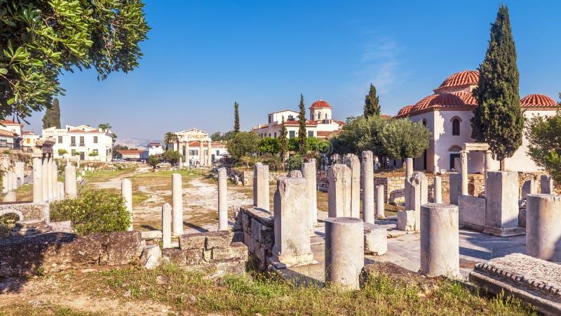 Vue panoramique scénique de Roman Agora, Athènes, Grèce photographie stock